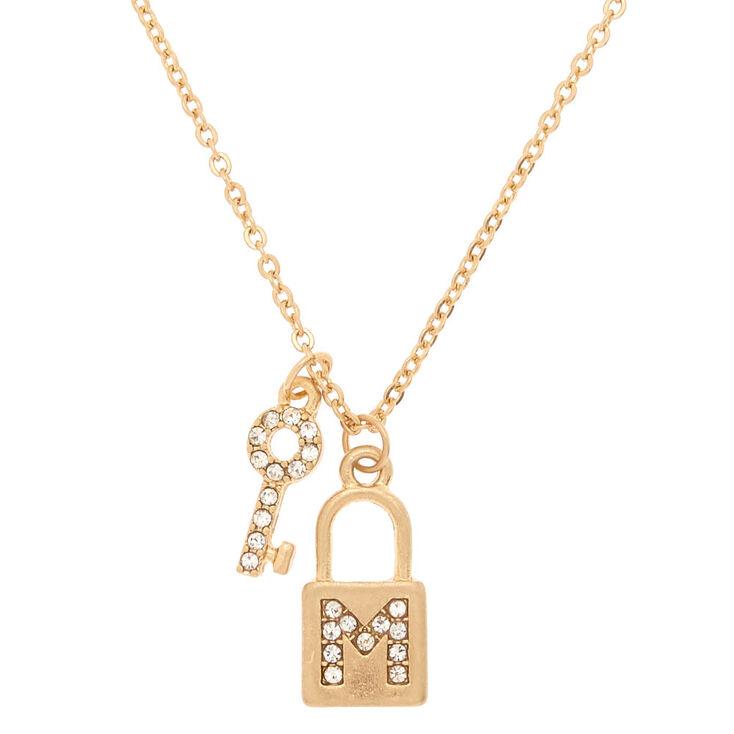 Gold Lock & Key Initial Pendant Necklace - M,