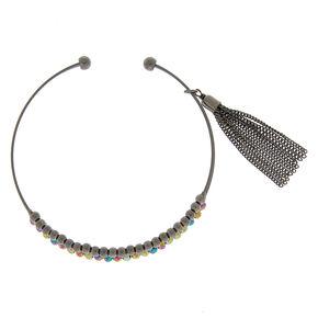 Hematite Beaded Tassel Cuff Bracelet,