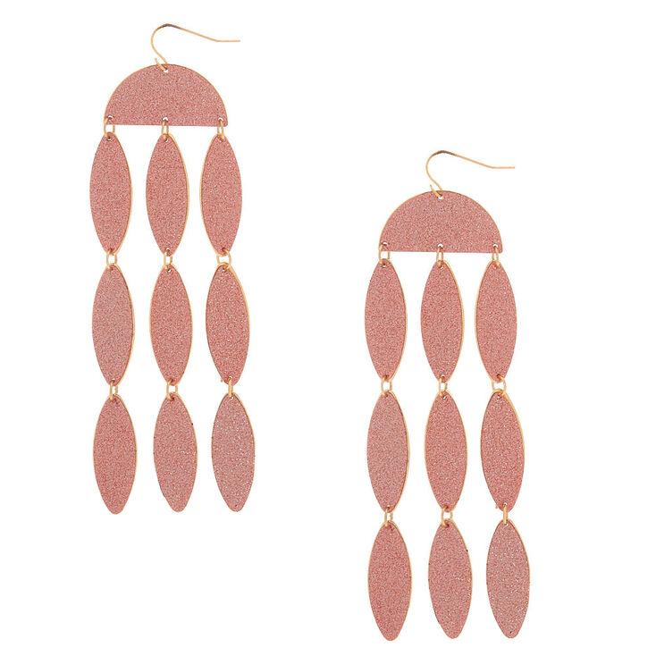 """Rose Gold 4"""" Glitter Drop Earrings,"""