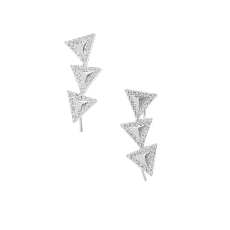 Silver Tone Triangle Trio Ear Crawlers,