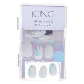 Holographic Shell Round Faux Nail Set - White, 24 Pack,