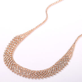 Rose Gold Rhinestone Waterfall Statement Necklace,