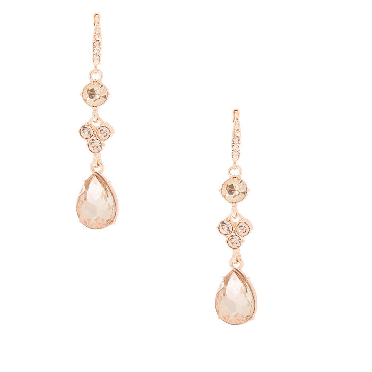 "Rose Gold Rhinestone 2"" Linear Teardrop Drop Earrings,"