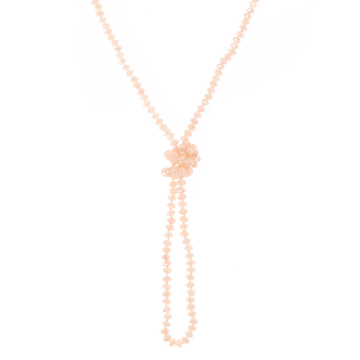 Blush Long Beaded Knot Necklace,