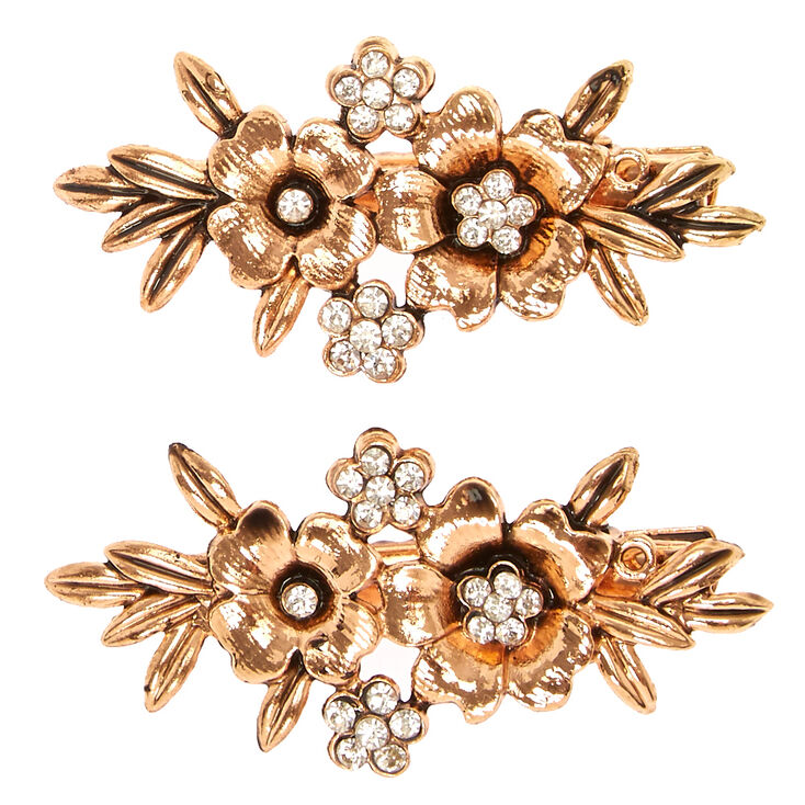 Rose Gold Flower Stone Hair Barrettes,