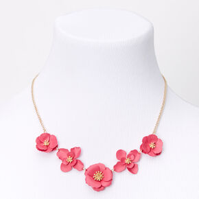 Gold Daisy Flower Statement Necklace - Pink,
