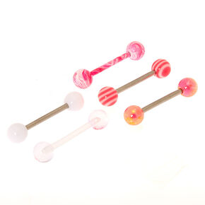 14G Pretty Swirl Tongue Rings - Pink, 5 Pack,