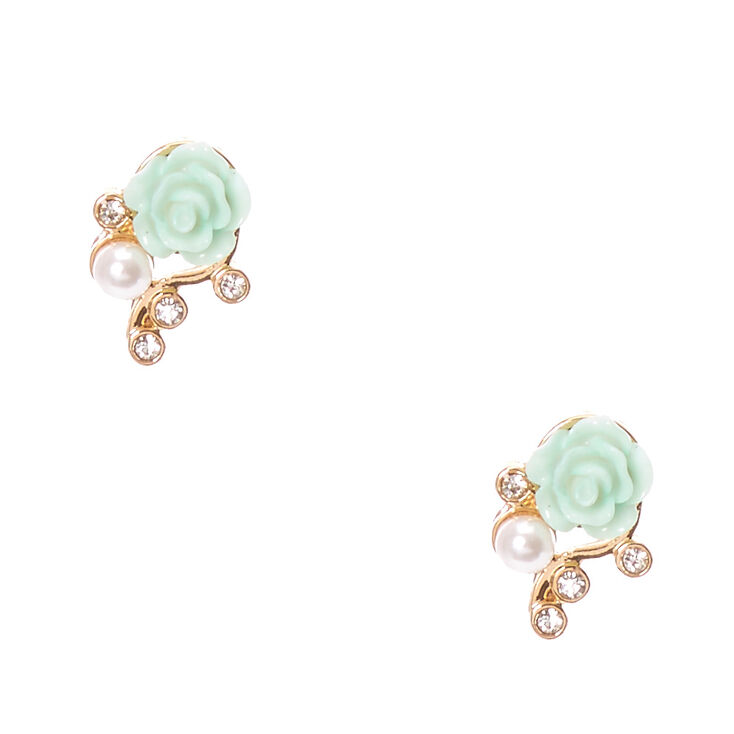 Mint Carve Rose And Gold Tone Vine Stud Earrings
