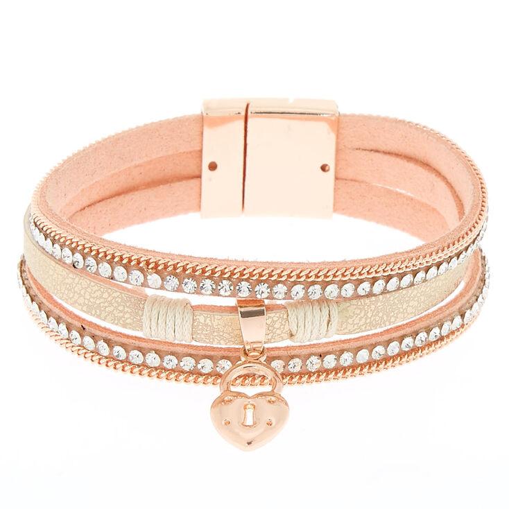 Embellished Key Charm Wrap Bracelet - Blush,
