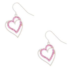 "Silver 1"" Crystal Heart Drop Earrings,"