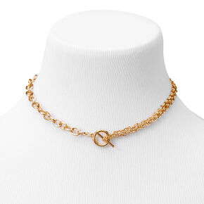 Gold Toggle Chain Choker Necklace,
