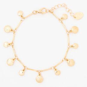 Gold Seashell Charm Bracelet,