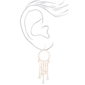 "Rose Gold 3.5"" Ring Beaded Tassel Drop Earrings - White,"