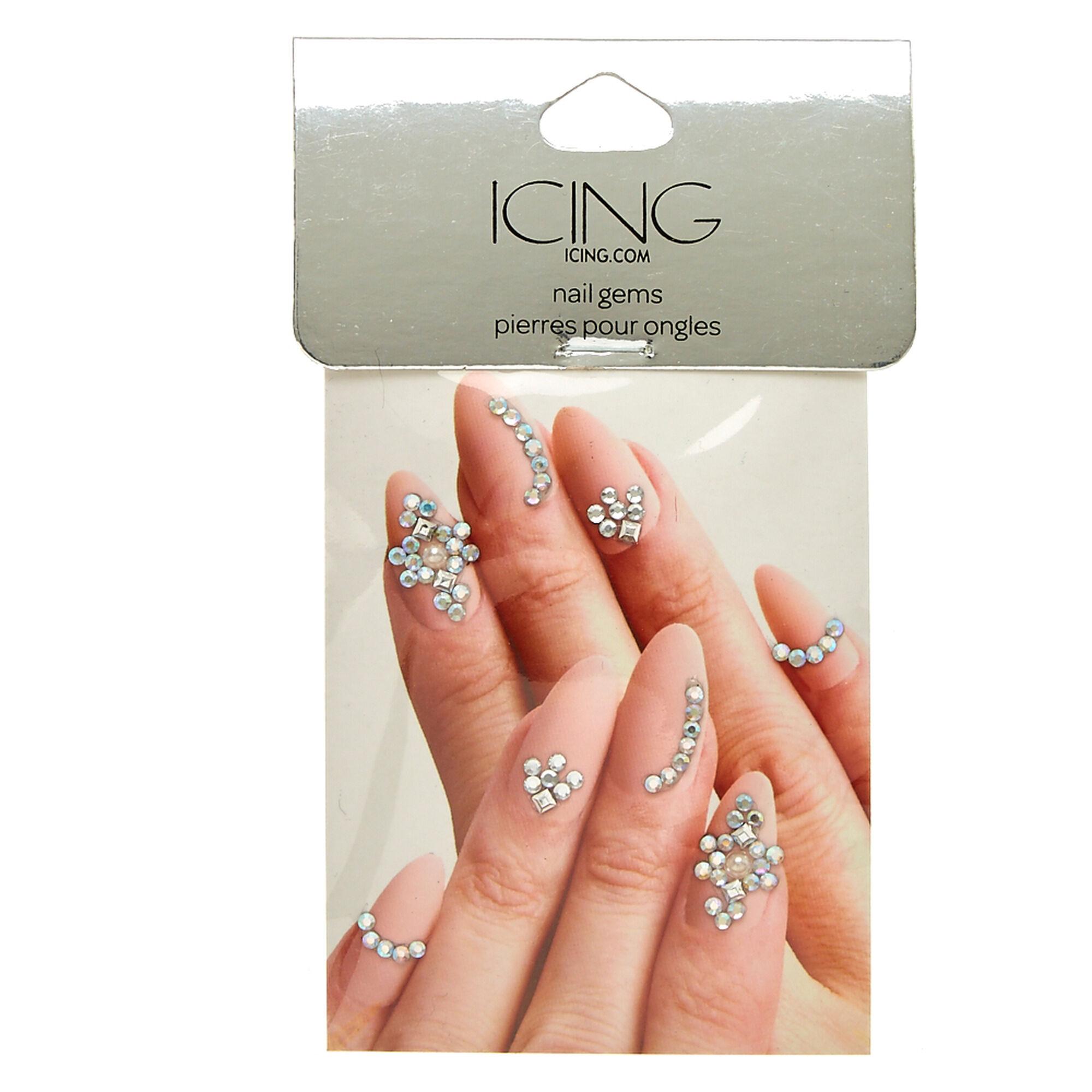 Silver Nail Bling Gems