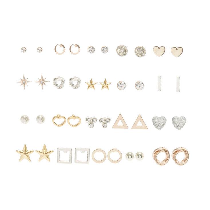 20 Pack Mixed Metal Stud Earring Set,