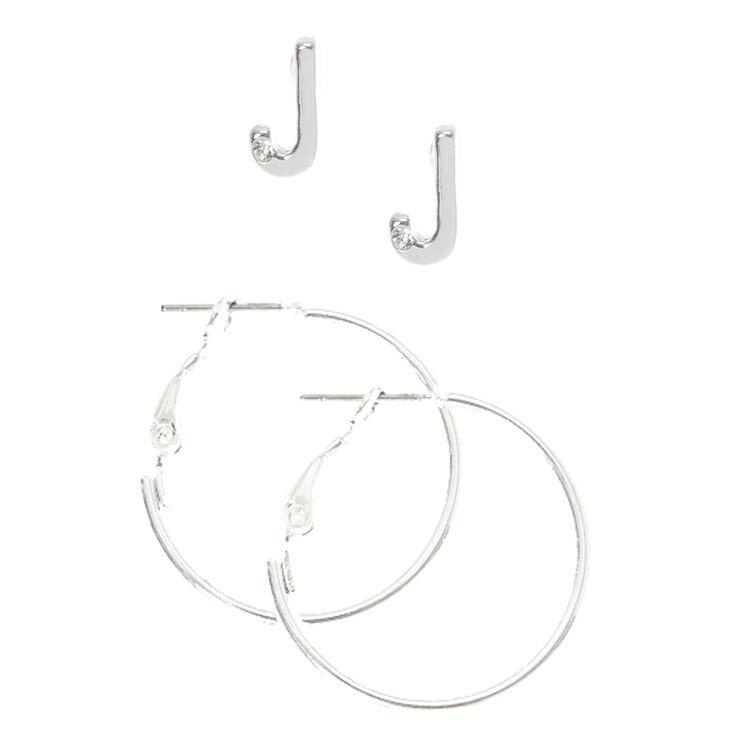 """Silver Initial """"J"""" Stud & Mini Hoop Earrings,"""