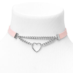Silver Heart Double Chain Choker Necklace,