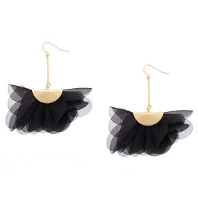 "2.5"" Chiffon Fan Drop Earrings - Black,"