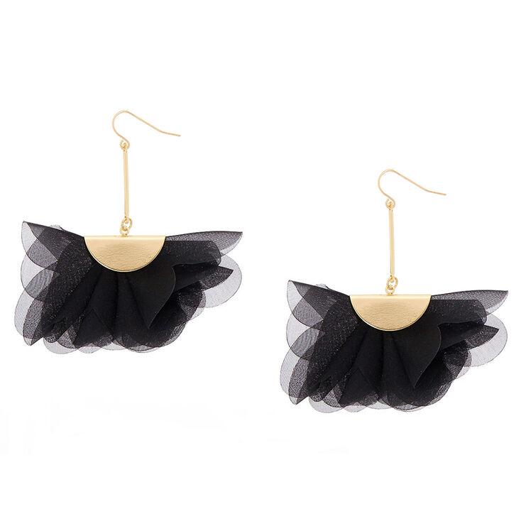 """2.5"""" Chiffon Fan Drop Earrings - Black,"""