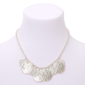 Silver Hammered Disc Statement Necklace,