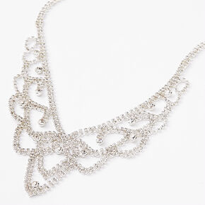 Silver Queen Rhinestone Statement Necklace,