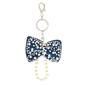 Glitz Denim Bow Keychain,
