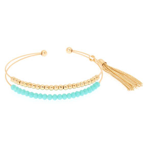 Gold Beaded Cuff Bracelet - Turquoise,
