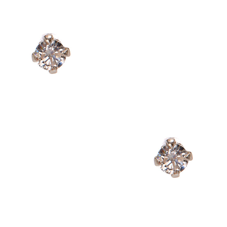 925 Sterling Silver Cubic Zirconia Round Stud Earrings,