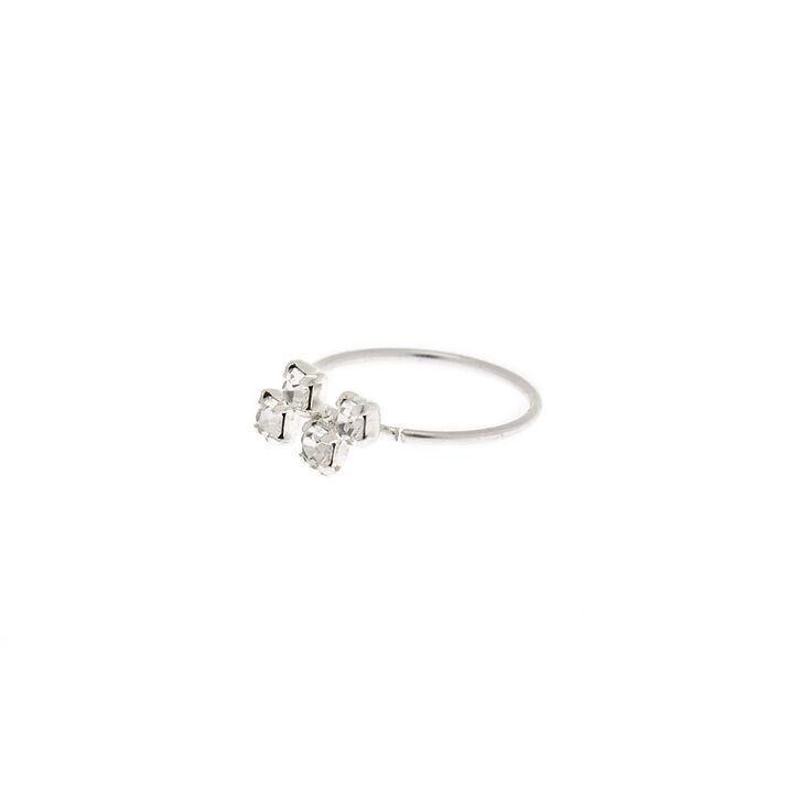 Sterling Silver 22G Crystal Zig Zag Hoop Nose Ring,