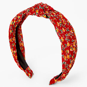 Floral Pleated Knot Headband - Red,