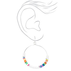 Silver 50MM Beaded Rainbow Hoop Earrings,