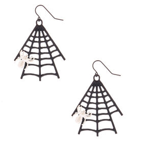 "Black 2"" Spider Web Drop Earrings,"