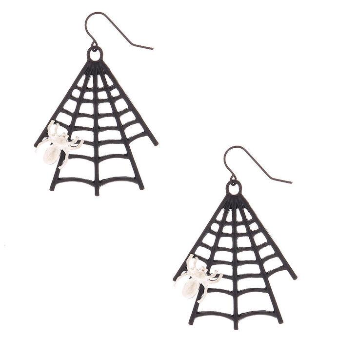 "Black 2"" Spider Web Drop Earrings,"