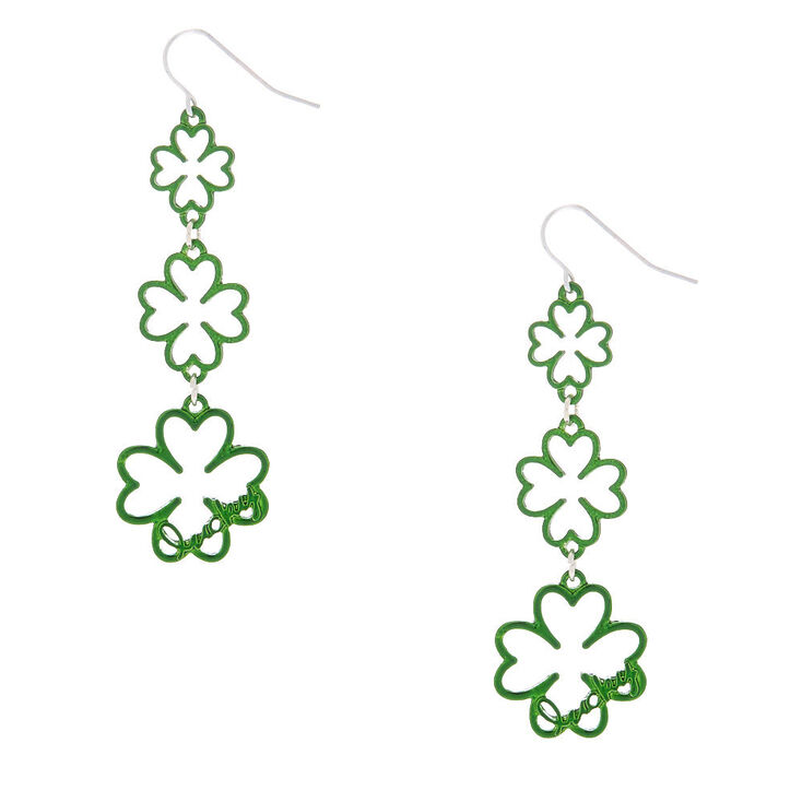 "Silver 2.5"" Lucky Shamrock Drop Earrings,"