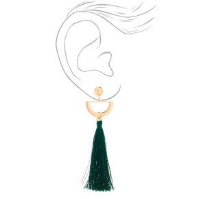 """Gold 4"""" Half Moon Tassel Drop Earrings - Green,"""