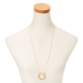 Gold Orbit Horseshoe Long Pendant Necklace,
