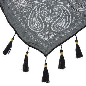 Square Bandana Tassle Scarf - Black,