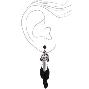 "5"" Feather Medallion Drop Earrings - Black,"