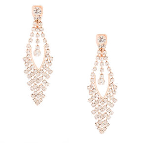 "Rose Gold 2"" Clip On Drop Earrings,"