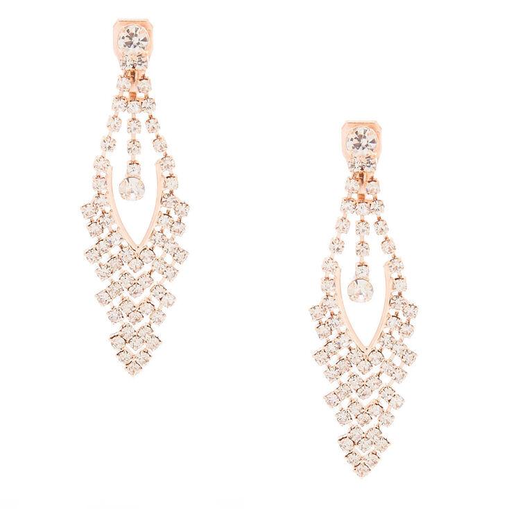 "Rose Gold 2"" Clip On Drop Earrings,"