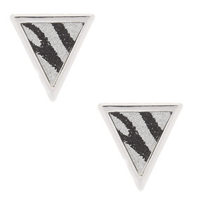 Silver Zebra Print Triangle Stud Earrings,