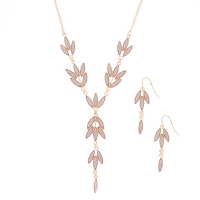 Rose Gold Leaf Jewelry Set - Blush, 2 Pack,