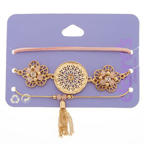 3 Pack Assorted Gold & Pink Bracelets,