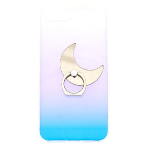Ombre Crescent Moon Ring Stand Phone Case - Fits iPhone 6/7/8 Plus,