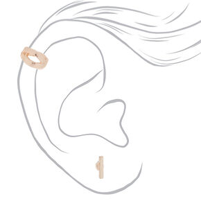 Rose Gold Earrings, 3 Pack + Free Ear Cuff,