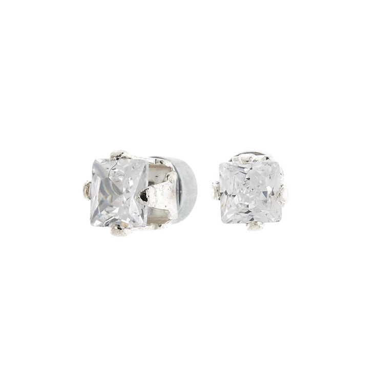 Silver Cubic Zirconia 3MM Square Magnetic Stud Earrings,