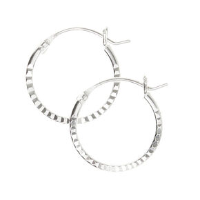 Sterling Silver 14MM Laser Cut Hoop Earrings,