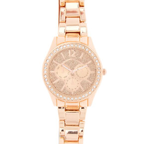 Rose Gold & Crystal Chain Link Watch,