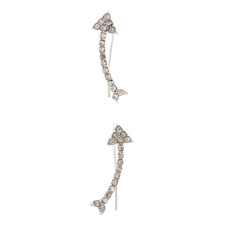 Silver Tone Faux Crystal Arrow Ear Crawlers,