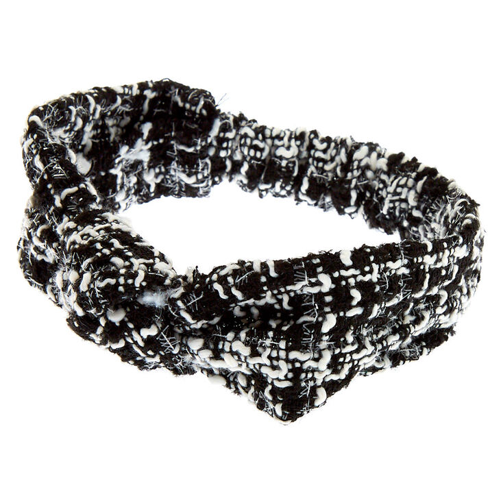 Black & White Tweed Knotted Headwrap,